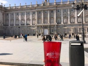 February 2017: The Jesse Oaks Red cup visits the Royal Palace of Madrid.