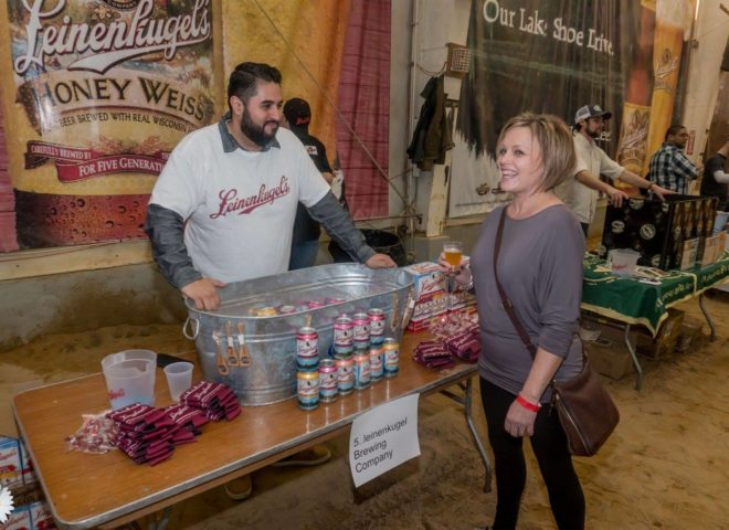 January 2018: Leinenkugel handing out swag at Craft Brew Fest at Jesse Oaks
