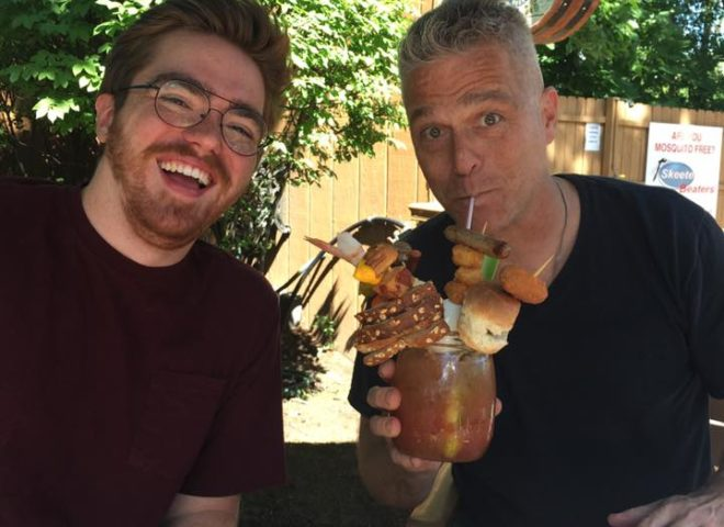 102.3 WXLC's Jimmy Novak enjoying a H.D. Bloody Mary with his son.