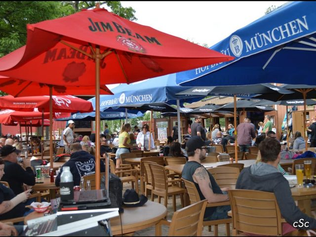 onlookers await music from Scott Mears Country Classics in the beer garden at Jesse Oaks