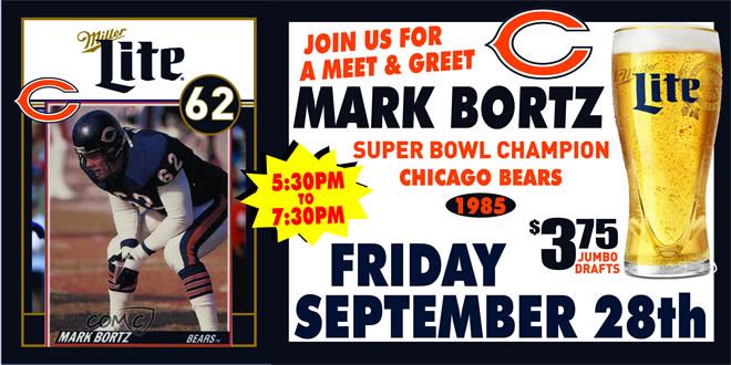 Friday, September 28, 2018 at Jesse Oaks | 1985 Chicago Bears Superbowl Champion Mark Bortz