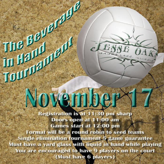 Jesse Oaks Beverage In Hand Volleyball | Nov 17, 2018 in the Leinie Lodge