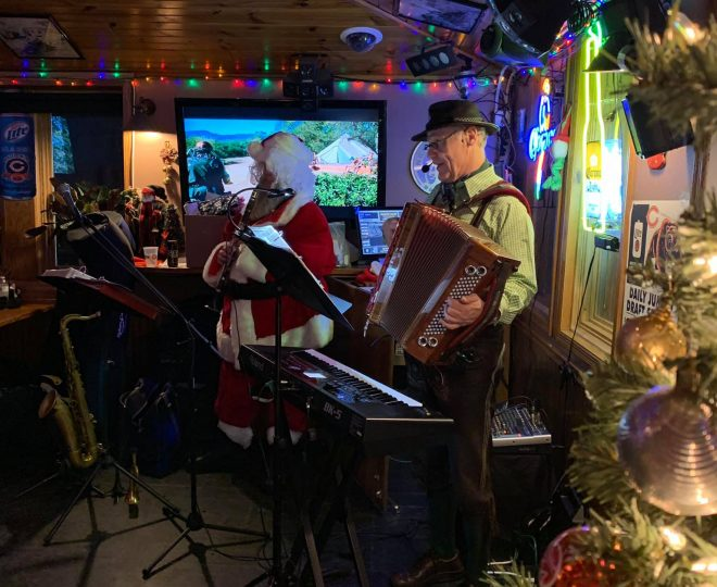 December 2018: Alpine Thunder performs during the annual Ugly Christmas Sweater Party at Jesse Oaks