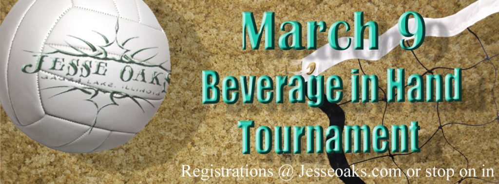 March 9, 2019 - Beverage in hand volleyball at Jesse Oaks