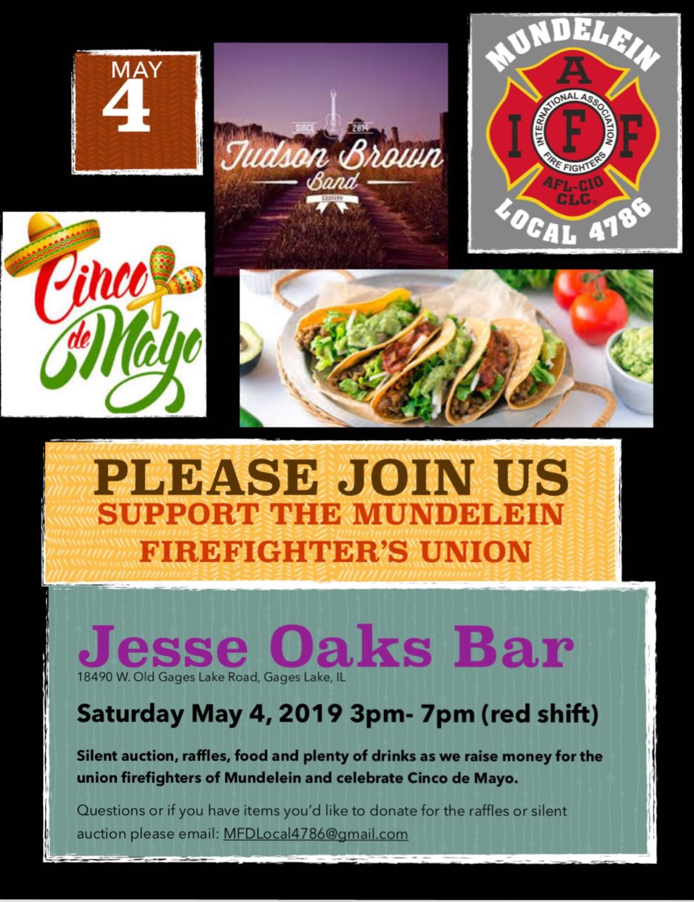 May 4, 2019 - Mundelein Firefighter's Union Fundraiser at Jesse Oaks 3pm to 7pm on Saturday, may 4th.