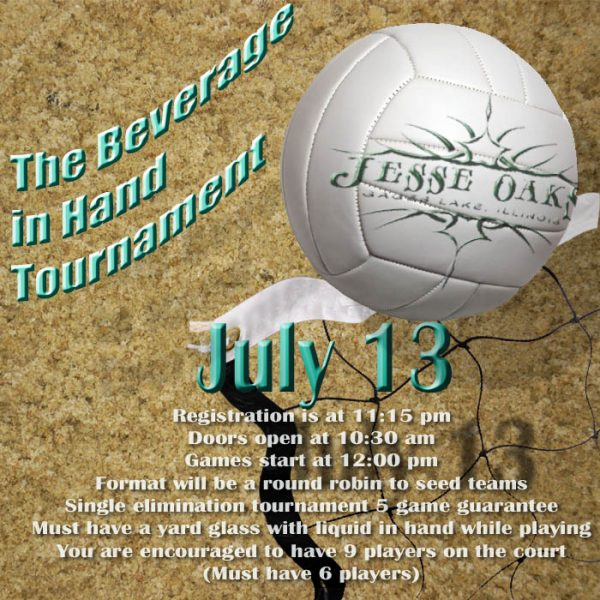 July 13, 2019 - Beverage in hand volleyball at Jesse Oaks