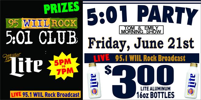 JesseOaks 501 Club with 95WiilRock on June 21st 2019.