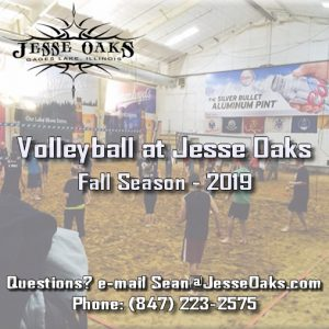 Fall 2019 Season Volleyball Leagues at Jesse Oaks start in September and go through December 23rd.