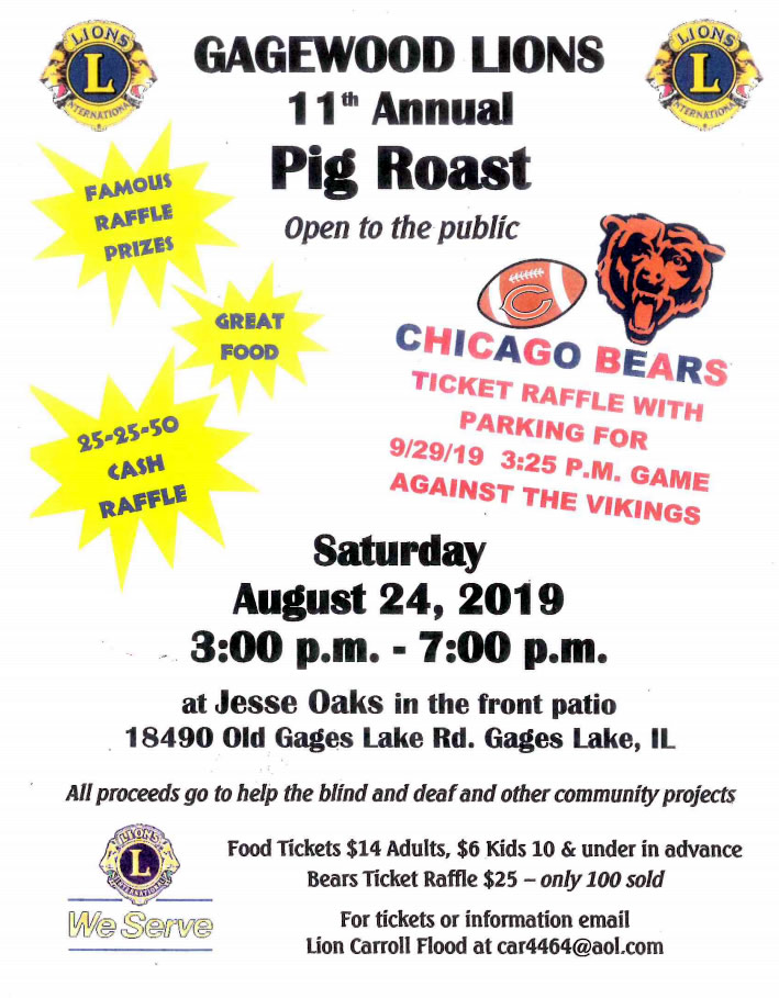 Lions 11th annual Pig Roast | August 24, 2019