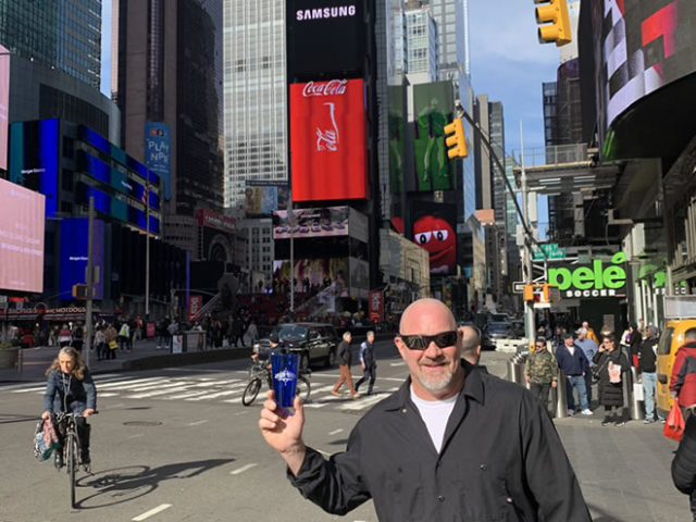 March 2020: Jesse Oaks Cup spotted in Time Square New York