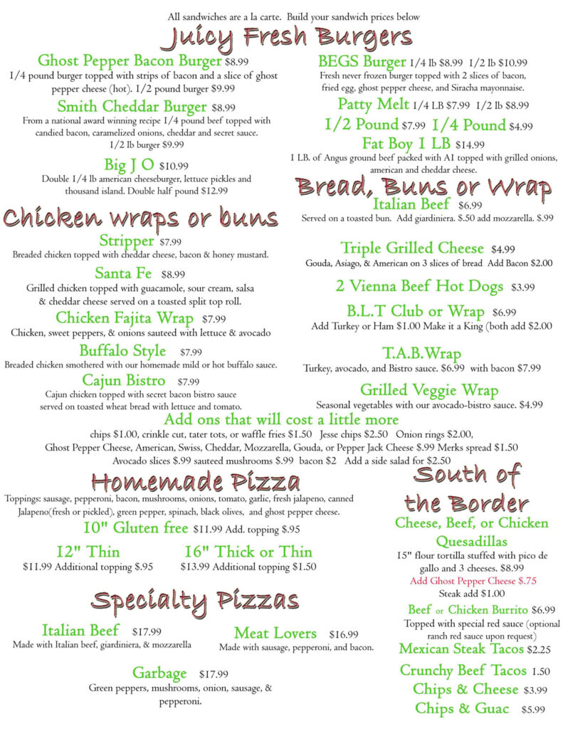 June Specials 2020 | Fresh Burgers, Chicken Wraps or buns, Home Pizza, Specialty Pizza and South of the border