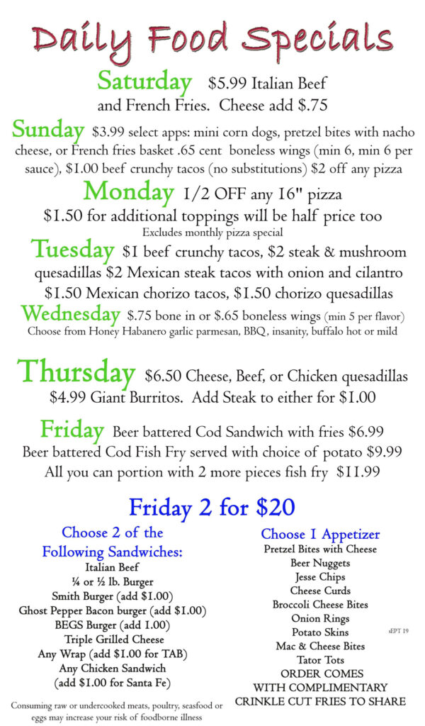 June Specials 2020 | Daily Food Specials